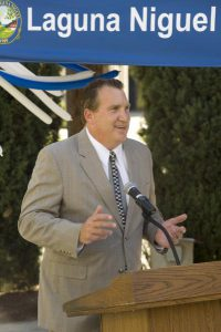 Laguna Niguel City Council Member Jerry Slusiewicz speaks during a ceremonial groundbreaking event for a major renovation project at Crown Valley Park on Thursday. ///ADDITIONAL INFO: s.ln.groundbreaking - 9/18/14 - PHOTO BY JOSHUA SUDOCK, STAFF PHOTOGRAPHER - The city breaks ground on a major renovation project at Crown Valley Park, the city's primary park. The multi-million dollar project is the city's biggest improvement project. The park's playground areas are being redone, there will be a water activities area, a new amphitheater and a new restroom building. Picture made at at Crown Valley Park in Laguna Niguel on Thursday, September 18, 2014